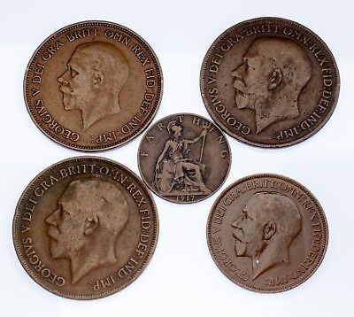 Great Britain Lot of 5 Coins (1916 - 1936, VF - XF Condition) Nice Collection!