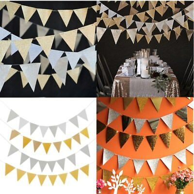 2 Colors Flag Banner Glitter Paper Pennant Bunting Garland Wedding Decoration