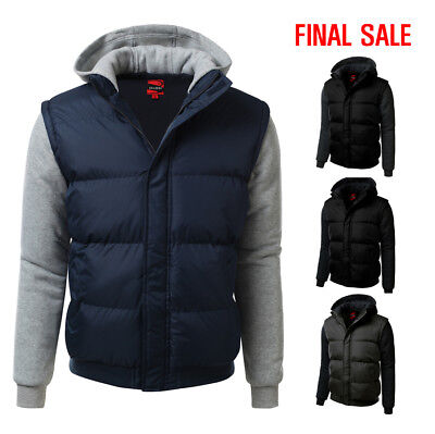 [FINAL SALE]Doublju Mens Long Sleeve Hooded Zip-Up Padded Jacket