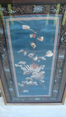 "ANTIQUE Asian SILK Frammed Art Stitched Embroidered Birds 14"" by 2'Foot long"