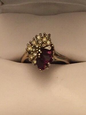 Antique purple amethyst and gold cluster cocktail ladies ring size 7 3/4