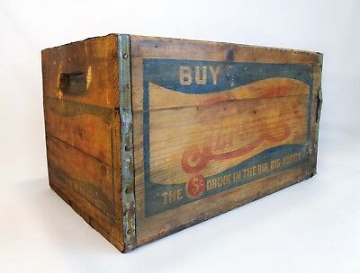 Rare Early 20Th C Pepsi-Cola Soda Wood Box Crate 5-Cent Bottle Carrier W/tin/ink