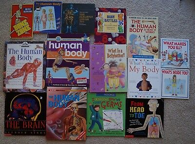 Lot 15 nonfiction books about the HUMAN BODY health science biology skeleton +