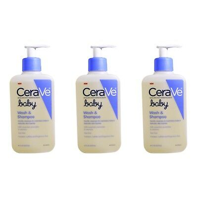 New! CeraVe Gentle Baby Wash Shampoo 8oz Tear Free Fragrance Free Lot of 3