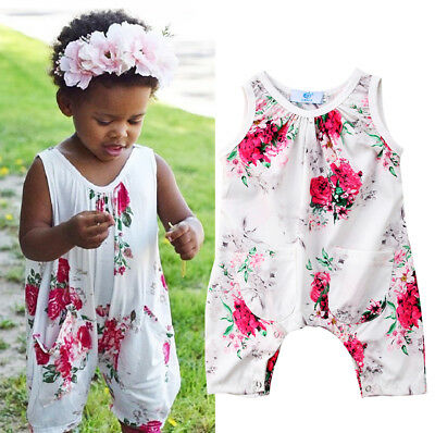 *UK FAST* Toddler Infant Baby Girls Summer Floral Romper Jumpsuit Outfit Clothes