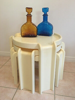 "Retro KARTELL-Binasco (Italy) ""Giotto Stoppino"" Nesting Tables Cream"