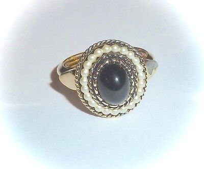 Vintage 1973 *black Cabochon* Ring - Black Stone, Pearls, Goldtone - Sz S(4-5)