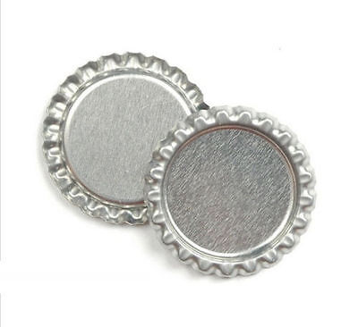 "DIY 100Pcs Craft 1"" Chrome Silver Flattened Linerless Bottle Caps No Liners"