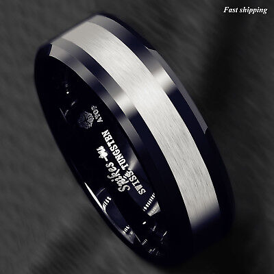 8mm Tungsten Carbide Ring Classic Black Silver Brushed Wedding Band ATOP Jewelry