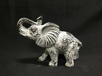 Cast Iron Antiqued White Elephant Door Stop, Paper Weight Or Statue