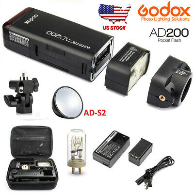 US GODOX AD200 200W 2.4G TTL 1/8000 HSS Outdoor Pocket Speedlite Flash+Reflector