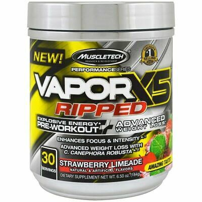 MUSCLETECH Vapor x5 Ripped - NEW ADVANCED PRE WORKOUT WEIGHT LOSS FORMULA C4 N.O