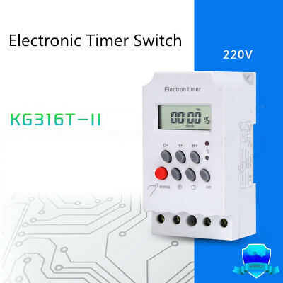 KG316T-II 220V Digital Programmable Electronic Timer Switch 50-60Hz Din Rail LCD