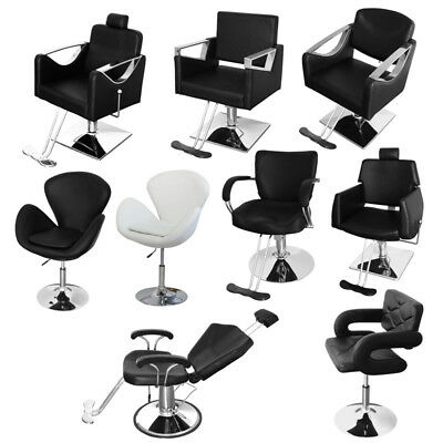 Beauty Salon Chair Reclining Barber Hairdressing Hair Cut PU Leather Chromed UK