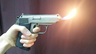Lighter gun 007 movie cosplay prop ppk walther bond costume natural flame torch