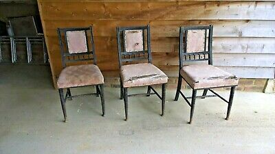 Three Aesthetic Movement English Dining Chairs  E W Godwin