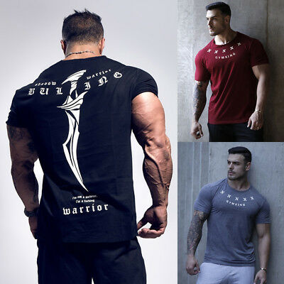 Men's Gym Muscle Bodybuilding Cotton Sport Fit Fitness Casual T-shirt Tee yu