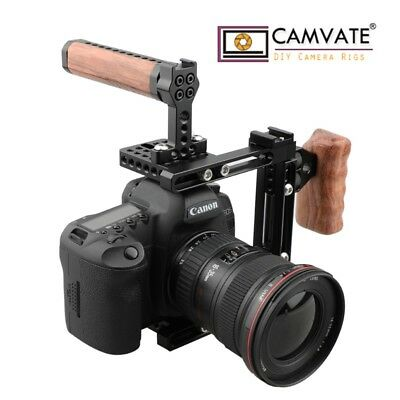 CAMVATE Universal DSLR Camera Cage Wood Top Handle Grip Left Right C-frame Nikon