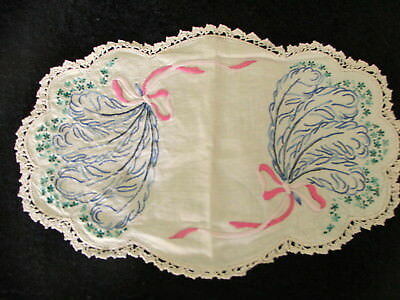 Vintage Hand Embroidered Doilies X 12 Assorted Oval, Rectangle & Round Doilies