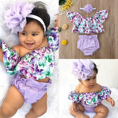 3pcs Toddler Baby Girl Off Shoulder Flower Top Shorts Briefs Summer Outfit 0-24M