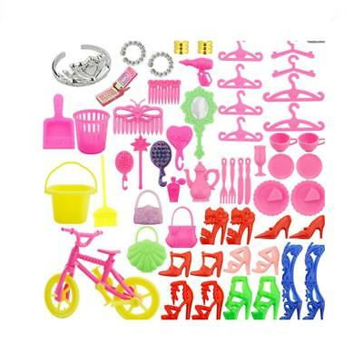 55Pc Accessories for Various Doll, Girls Great Gift, Mirror Hanger Tableware