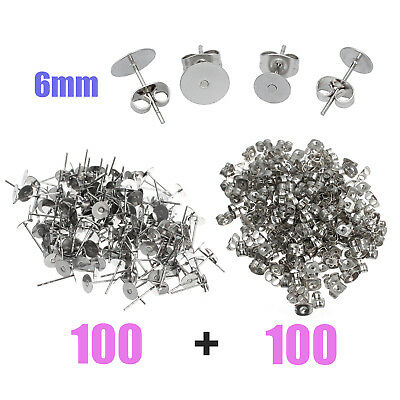 200pcs 6mm Flatback Earring Stud Posts Pads & Nut Backs Surgical Stainless Steel
