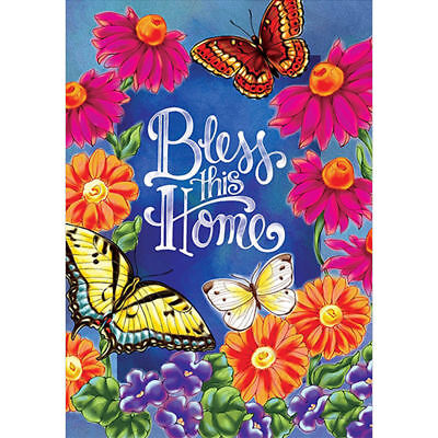 Bless This Home Spring Flowers Butterfly Garden Flag House Flag Yard