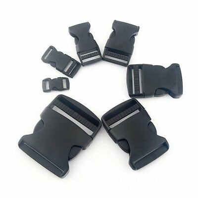 2/10Pcs Black Plastic Backpack Strap Clip Plastic Side Quick Release Buckle UU