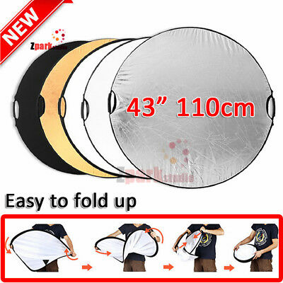 """5 in 1 43""""110cm Photography Photo Studio Collapsible Light Reflector+Handle Grip"""