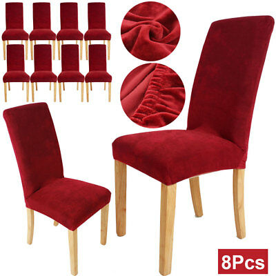 8Pcs Stretch Dining Chair Cover Washable Removable Slipcover Dinning Cover Wine