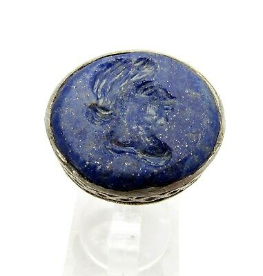 Post Medieval Silver Ring W/ Carved Intaglio Lapis Lazuli  - Wearable  D133