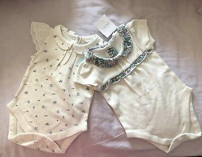 Next Baby Girl Cream Green Blue Teal Collar Lace Short Sleeve Vests 0-3 Months