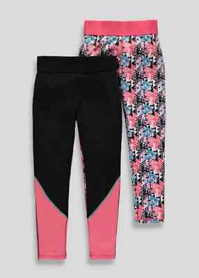 Girls SOULUXE BNWT 2 pack black coral print sport leggings 8 9 10 11 12 13 (CJ)