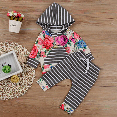LC_ EG_ Newborn Infant Baby Girl Floral Hooded Tops Pants Striped 2PCS Outfits