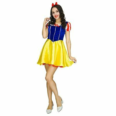 37b195d045cf53 Women Snow White Fancy Dress Costume Adult Fairytale Snow Princess Ladies  Outfit