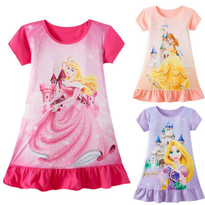 Toddler Kid Baby Girl Rapunzel Belle Aurora Princess Print Clothes Party Dress B