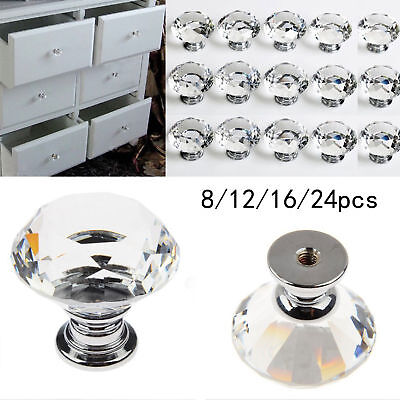 1/4/8/14/20 Clear Crystal Diamond Glass Door Knobs Cabinet Drawer Handle Knobs