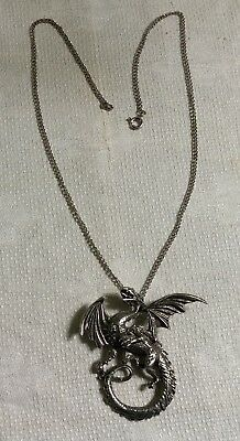 "Vintage Silvertone Metal Link Chain Flying Winged Dragon Pendant 18"" Necklace"