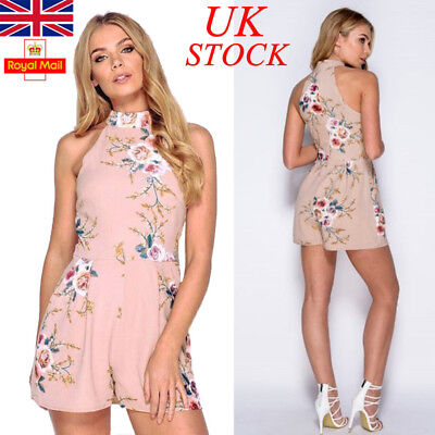 UK Womens Choker Neck Floral Playsuit Jumpsuit Ladies Mini Dress Summer Party