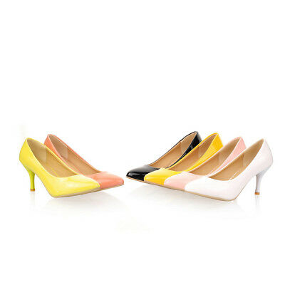 Womens bowknot single shoes Synthetic leather Stilettos heel Pumps Shoes AU SIZE