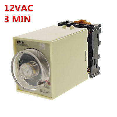 12VAC/DC 0-3 Minutes Power Off Delay Time Relay With Socket Base PF083A