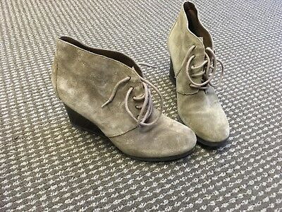 676daecfd5476 Franco Sarto Weston Women s Suede Wedge Oxford Ankle Boots - Beige - Size 9