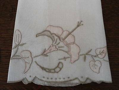 Vintage Madeira Linen Embroidered Guest Hand Towel Morning Glory Pink Tea