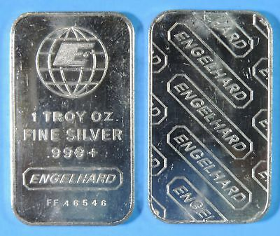 Vintage Engelhard Small E FF Series 1 Troy Oz .999 Fine Silver Bar