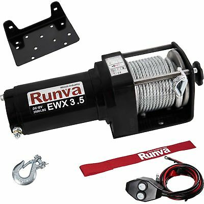 Runva 3500 Lbs Electric 12V ATV UTV Power Tow Winch with Remote Control EWX3500