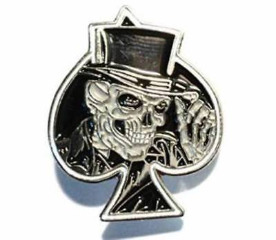 Gothic Skull Ace of Spades enamel plated Pin Badge FREE POSTAGE
