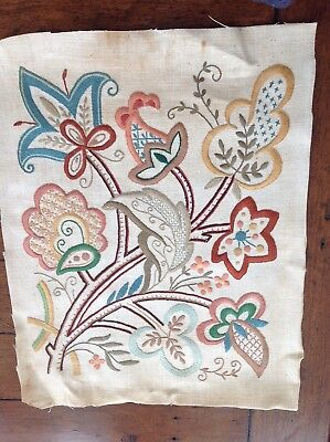 Hand Stitched Vintage Jacobean Style 1930 Abstract Floral Embroidery Linen Panel
