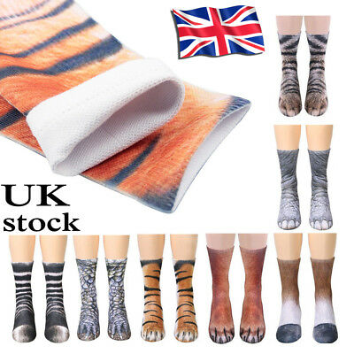 Novelty Unisex 3D Printed Animal Paw Hoof Tube Crew Cotton Stretchy Soft Socks