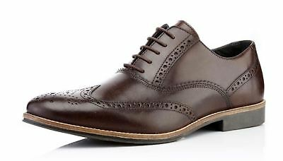 Red Tape Mens Real Leather Lace Up Brogues Slim Fashion Brown Shoes