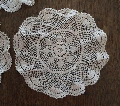 True Vintage Fine Crochet Lace Doily Set Scallops Snowflakes Set of 3 Three